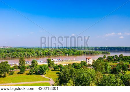 Sava River Flows Into The Danube River Aerial Panoramic View From The Belgrade Kalemegdan Fortress I