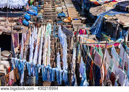 Dhobi Ghat Is A Open Air Laundry In Mumbai City, Maharashtra State Of India