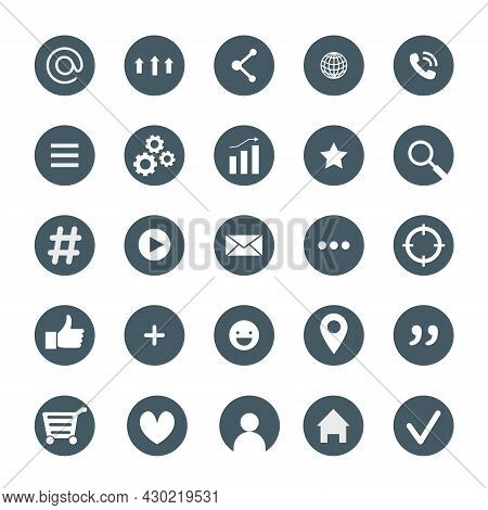 A Set Of Icons For A Website, The Internet Or Social Networks. Informative Icons For Business Cards.