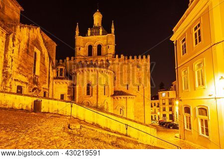 Old Cathedral Of Coimbra Or Se Velha De Coimbra Is A Roman Catholic Church In Coimbra City, Portugal