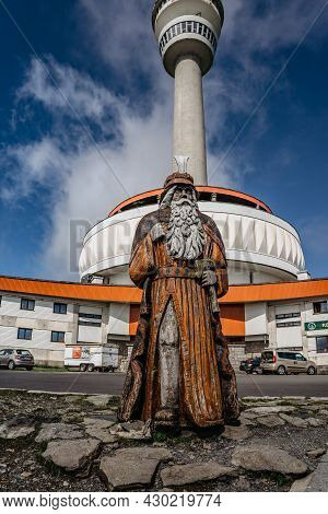 Praded, Czech Republic - July 10,2021. Statue Of Praded, Mystical Patron And Guard Of Jeseniky Mount
