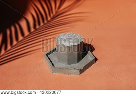 Cosmetic Background For Product Presentation. Concrete Podium.