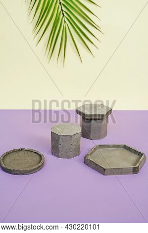 Cosmetic Background For Product Presentation. Concrete Podiums.