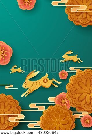 Paper graphic of Mid Autumn Mooncake Festival theme with oriental flower and cute rabbit. Wide copy space for design.