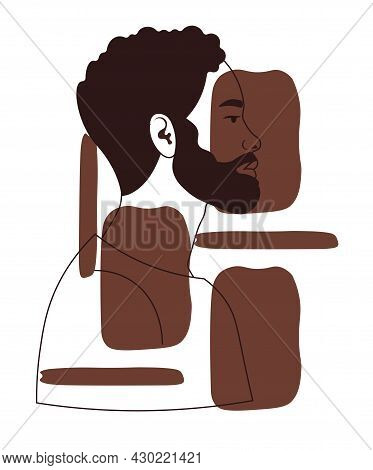 Hand Drawn Portrait Of Black Man. Abstract Picture Depicting People Of Different Skin Colors. Africa