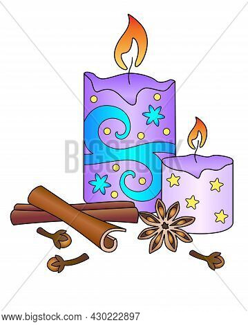 Candles And Spices - Aromatherapy, Antistress - Stock Illustration With Zentangles. Scented Candles,