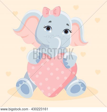 Cute Baby Elephant. Elephant Pulling A Big Pink Heart In Her Arms. Animal Sticker. Baby Picture For