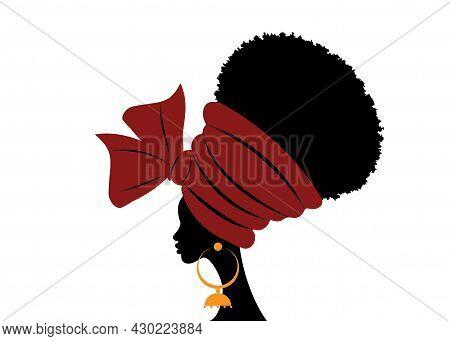 Portrait Beautiful African Woman In Traditional Turban Handmade Tribal Wedding Red Textile, Kente He