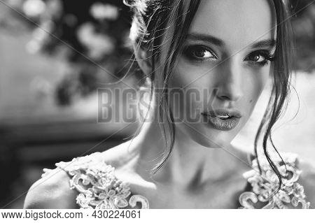 Closeup Portrait Of Beauiful European Girls Bridesmaid In Pink Dress