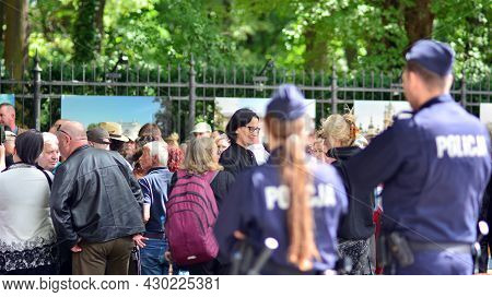 Warsaw, Poland. 18 August 2021. Polish Police Department Securing Demonstration On City Streets.