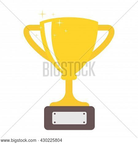 Trophy Flat Icon Isolated. For Mobile And Web. A Symbol Of Victory, Success And Achievement. Glitter