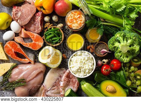 Ingredients For Healthy Food. Various Balanced Useful Components Healthy Low Carbohydrate Foods. Top