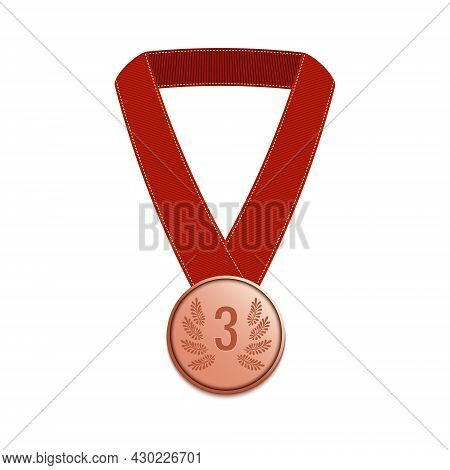 Third Place Winner Bronze Medal With A Long Ribbon