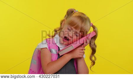 Portrait Of Tired Schoolgirl Wears Backpack Yawning, Sleepy Inattentive Feeling Somnolent Lazy Bored