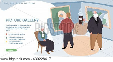 Vector Cartoon Flat Characters-visitors And Staff At Art Gallery.different People Watching, Examinin