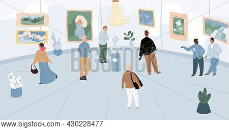 Vector Cartoon Flat Characters-visitors And Staff At Art Gallery.different People Watching Examining