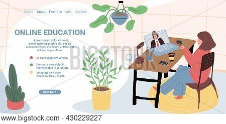 Vector Cartoon Flat Woman Character Taking Online Educational Class.cute Girl Listens To Teacher By