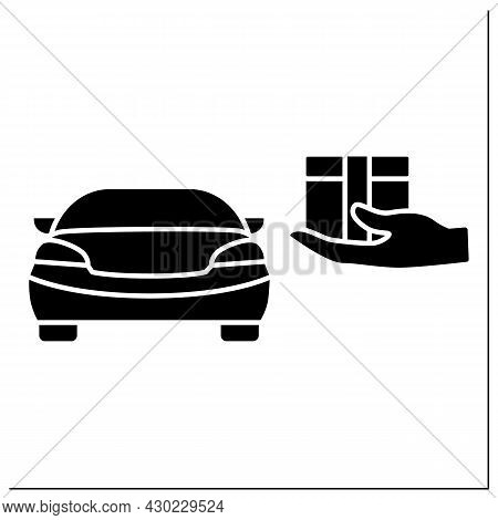 Curbside Pickup Glyph Icon.store Associate Brings Pickup Order Out To Consumer Vehicle. Contact-free
