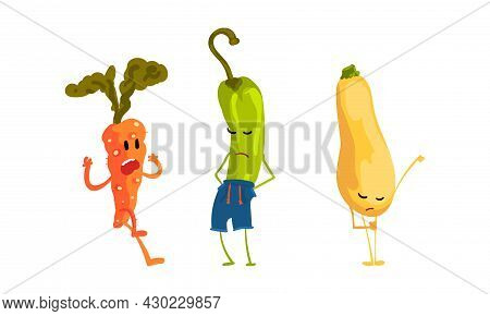 Funny Humanized Vegetables Feeling Sad And Shouting Vector Set