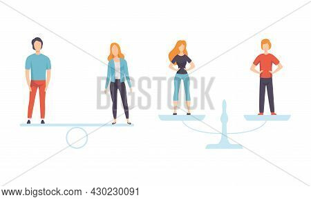 Man And Woman On Scales As Gender Equity Vector Set