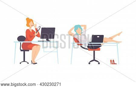 Work And Career With Woman At Office Desk Resting And Putting On Lipstick Vector Set