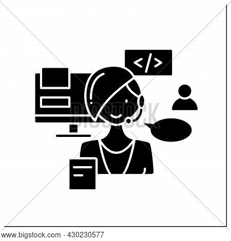 Consultant Glyph Icon. Wordpress Website Consultant. Client Support. Basic Coding And Infrastructure