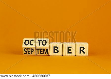 Symbol For The Change From September To October. Turned Wooden Cubes And Changed The Word 'september