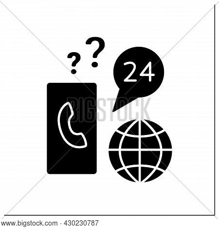Client Support Glyph Icon. Communication And Consultation About Visa Issues. Day-and-night Call Cent