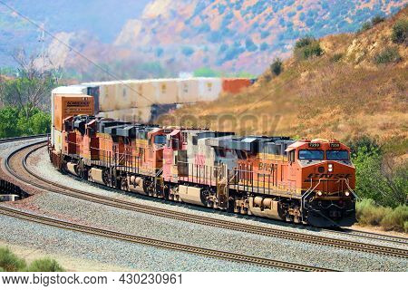 August 17, 2021 In Cajon Junction, Ca:  Freight Train Including  Locomotives And Freight Rail Cars T