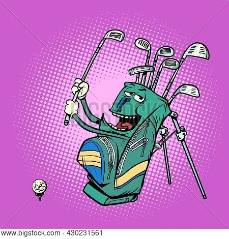 Golf Bag Funny Character, Clubs And Sports Equipment, Golf Club