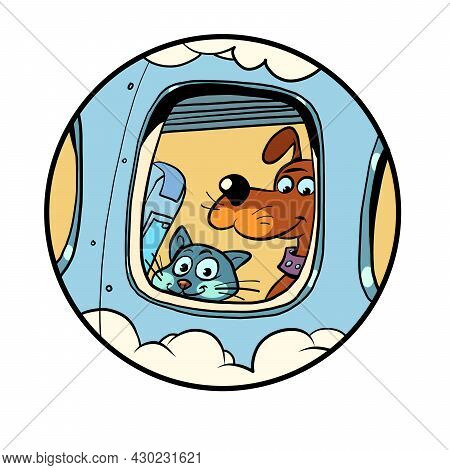 Pet Friendly Plane. Departure From The Airport Animals On Board. Travel And Tourism