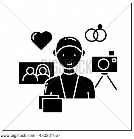 Wedding Photographer Glyph Icon. Individual Entrepreneur. Man Take Photos For Couples. Small Busines
