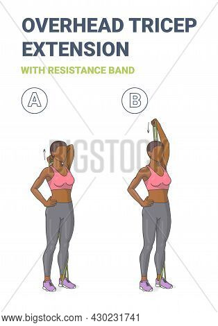 Black Girl Doing Overhead Tricep Extension Home Workout Exercise With Resistance Band Guidance.