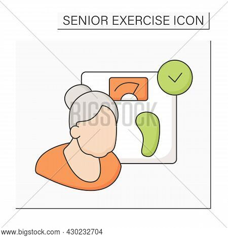 Healthy Weight Color Icon. Normal Weight. Prevention Diseases. Healthy Lifestyle. Senior Exercise Co