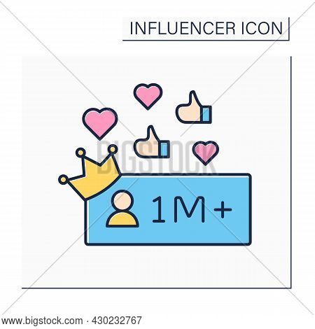 Followers Color Icon. Million Plus Subscribers.high Influence On People. Mega Influencer. Celebrity.