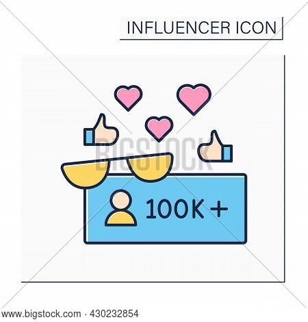 Followers Color Icon. Macro Influencer. Blogger With One Hundred Thousand Plus Subscribers. High Inf