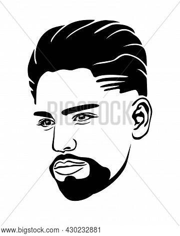 Barbershop.abstract Black Male Face Portrait Vector Silhouette Haircut Hair,beard.man Head Drawing.h
