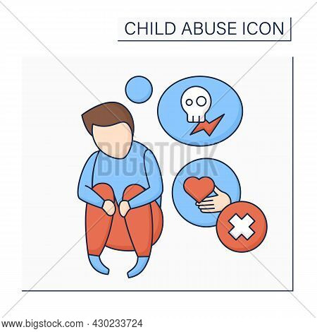 Stress Color Icon. Support Lack. Time-intensive Parenting, Stressful Job.burnout. Child Abuse Concep