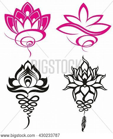 Set Of Stylized Lotuses. Collection Of Lotus Flowers For A Logo. Tattoo.