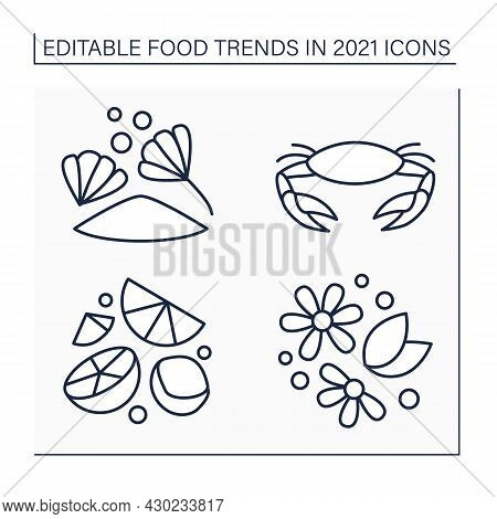 Food Trends Line Icons Set. Trendy Dishes. Herbal Tea, Chicory Drink, Hard Seltzer, Seafood Boils. N