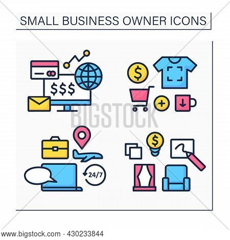 Small Business Owner Color Icons Set. Printing On Products, Interior Designer, Ecommerce Business, T
