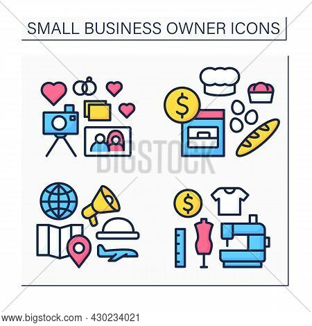 Small Business Owner Color Icons Set. Individual Entrepreneur. Baking, Wedding Photographer, Tour Gu