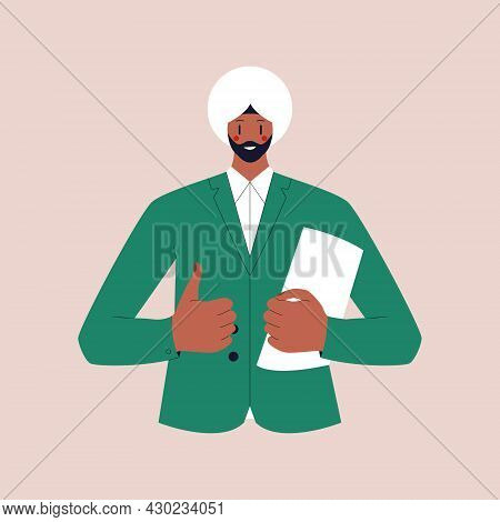 A Guy With A Beard In A Turban In A Business Suit Holds A Folder With Documents And Shows A Thumbs U
