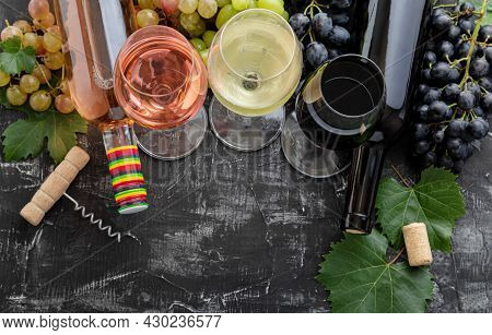 White Wine Rose Red Wine In Glasses Choice For Tasting. Types Of Wine In Bottles. Different Varietie