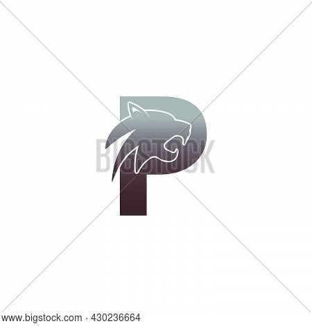 Letter P With Panther Head Icon Logo Vector Template