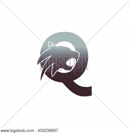 Letter Q With Panther Head Icon Logo Vector Template