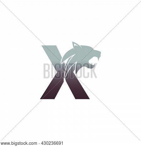 Letter X With Panther Head Icon Logo Vector Template