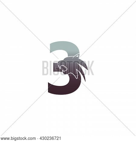 Number 3 With Panther Head Icon Logo Vector Template