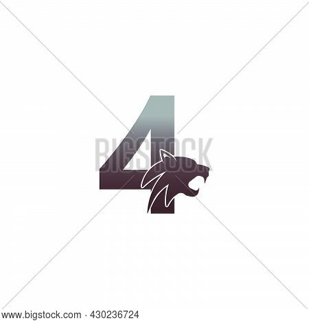 Number 4 With Panther Head Icon Logo Vector Template