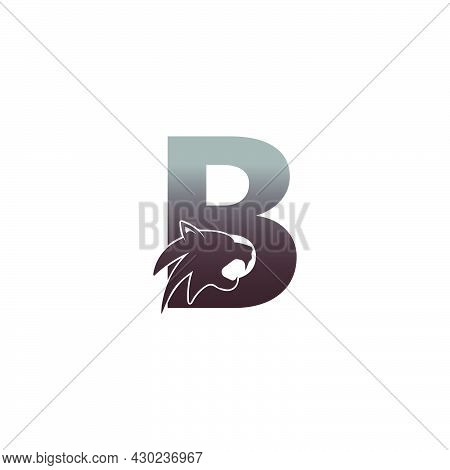 Letter B With Panther Head Icon Logo Vector Template